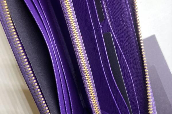 Prada 紫色拉鍊真皮銀包 $4300.- $3800 (4)
