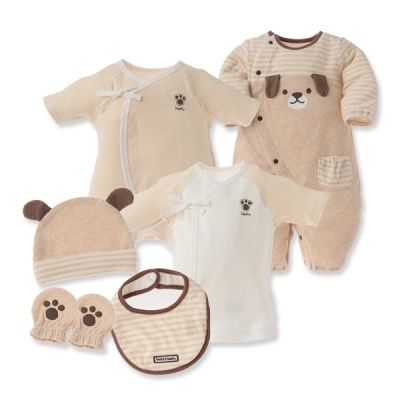 日本西松屋初生嬰兒六件套裝_啡