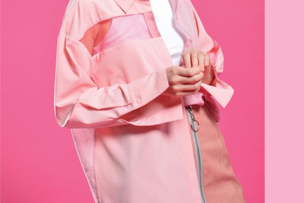 拼接襯衫 - 粉紅 (2)