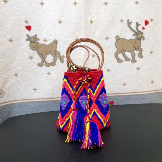 Mini size 單股Wayuu Bag 配植楺皮肩帶款 (2)