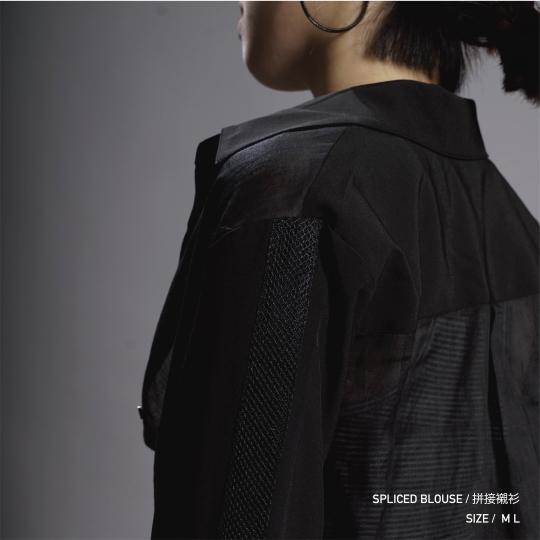 拼接襯衫 - 黑