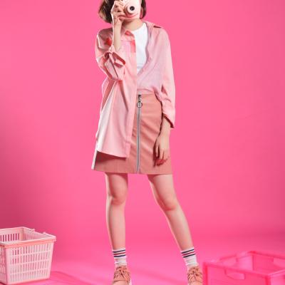 拼接襯衫 - 粉紅